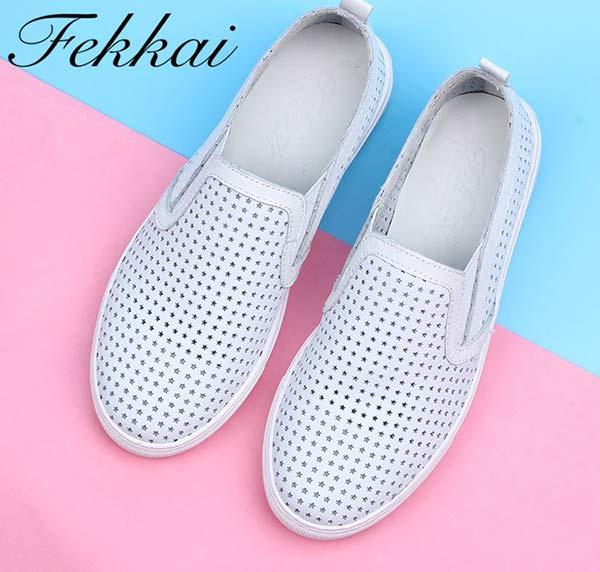 Fekkai品牌女鞋小白鞋平底休闲鞋
